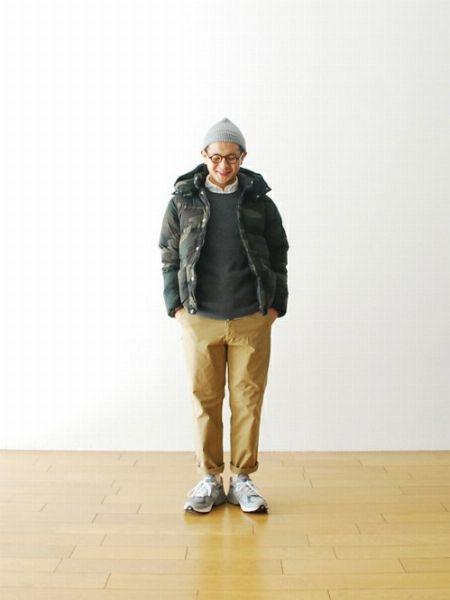 地味になりがちな冬スタイルは、迷彩柄のダウンジャケットで乗り越える!