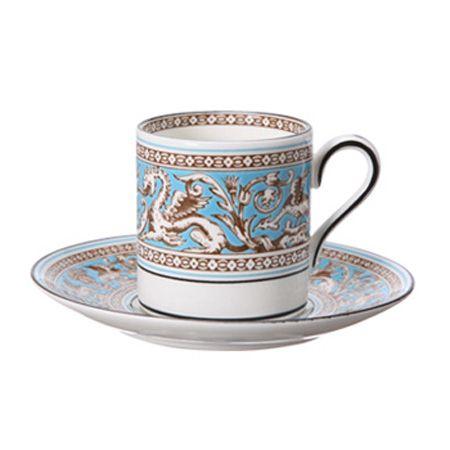 『ウェッジウッド』フロレンティーン ターコイズ コーヒーカップ&ソーサー(ボンド)