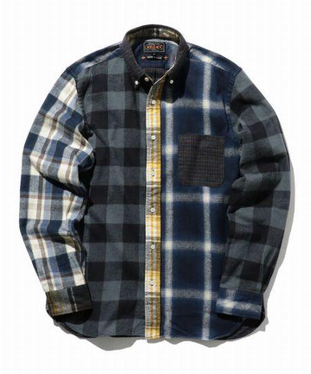 『ビームスプラス』ネル チェックプリント ボタンダウンシャツ