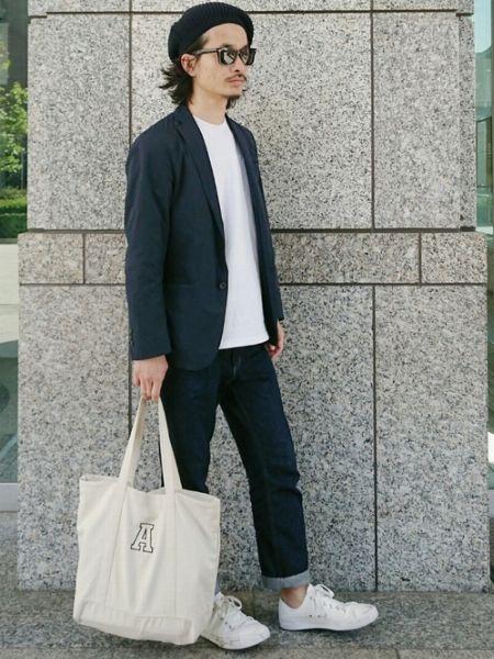 (B)白Tシャツ+(F)インディゴジーンズ+(I)ローテクスニーカー