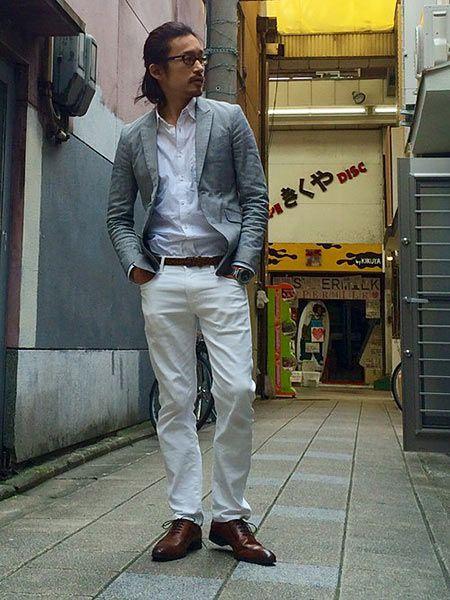 (A)白シャツ+(G)ホワイトジーンズ+(J)短靴