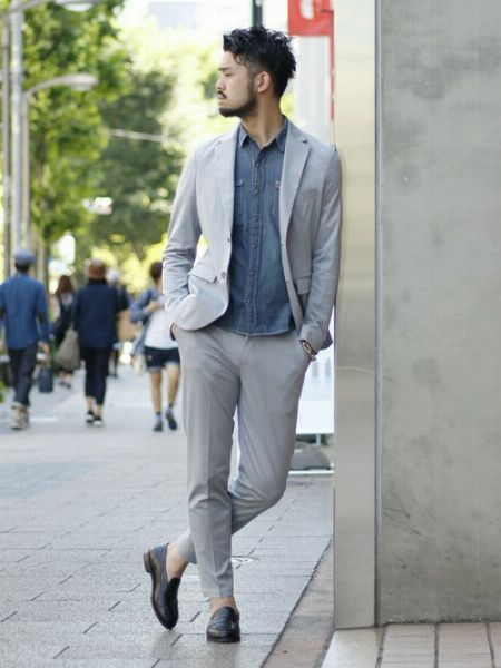 (B)デニムシャツ+(J)短靴