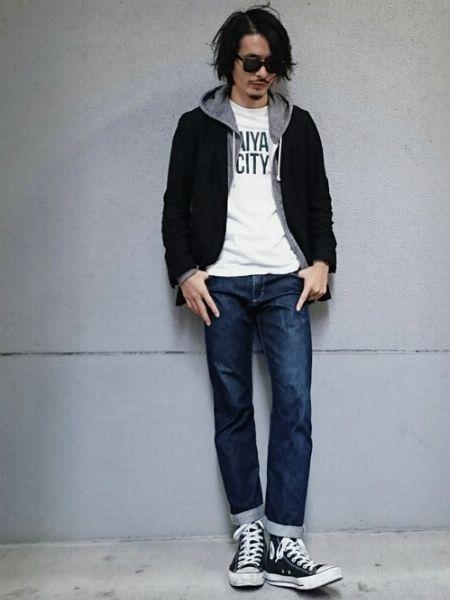 (C)白Tシャツ+(E)ジップアップパーカー+(F)インディゴジーンズ+(I)ローテクスニーカー