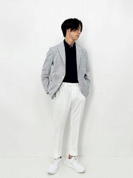(A)白シャツ+(F)インディゴジーンズ+(J)短靴