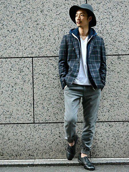 (C)白Tシャツ+(E)ジップアップパーカー+(H)ジョガーパンツ+(J)短靴