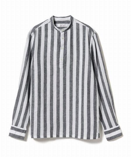 『ギローバー』×『ブリッラ ペル イル グスト』ボールドストライプ プルオーバー バンドカラー シャツ