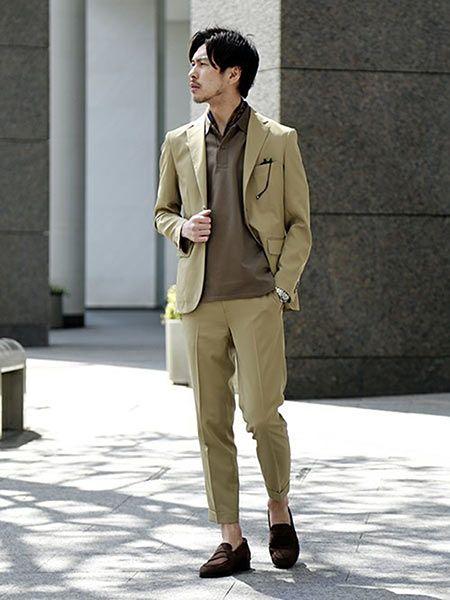 ▼ジャケット&ポロシャツで作るビジカジコーデ