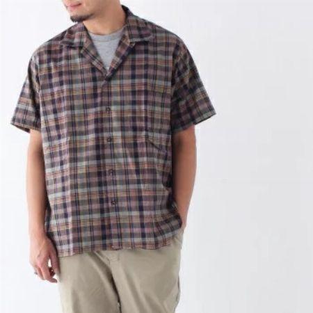 キャンプカラー チェックシャツ