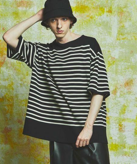 『メゾンスペシャル』18GオーガニックコットンプライムオーバーミラノリブパネルボーダーバスクTシャツ