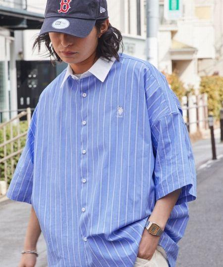 『ユーエスポロアッスン』×『フリークス ストア』別注 ワンポイント刺繍ロゴ SS レギュラーカラーシャツ