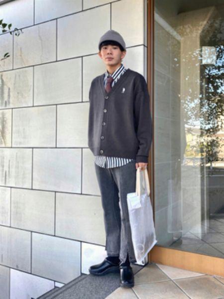 ニット帽×ジャケパン