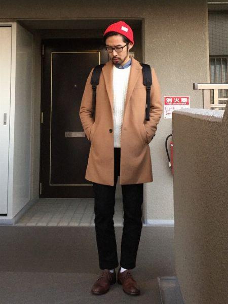 ニット帽×チェスターコート
