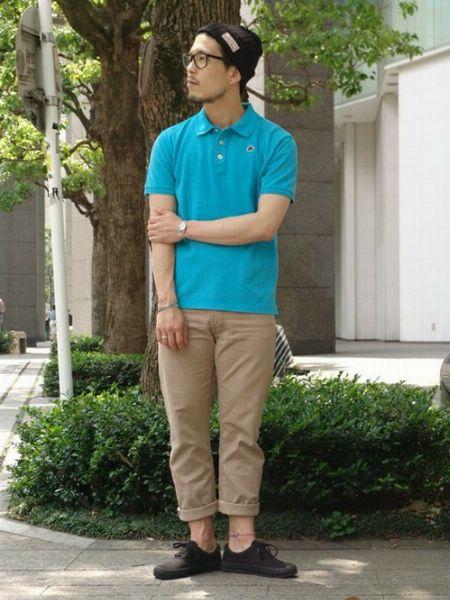 ニット帽×ポロシャツ