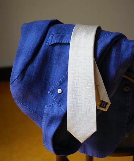 『クリケット』オリジナル 日本製 ヘリンボン地柄ネクタイ