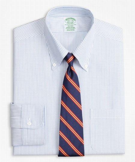 オックスフォード キャンディストライプ ポロボタンダウン ドレスシャツ(ニュー・ミラノフィット)