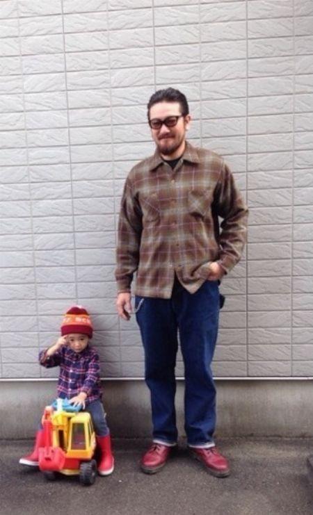 異なる色柄のチェックシャツでも親子ペアルックは作れる