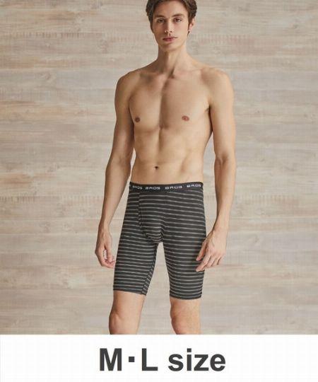 『ブロス バイ ワコール メン』接触冷感素材のボーダー柄ロング丈パンツ
