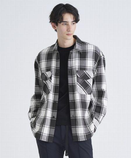 『シップス』フェザーチェック レギュラーカラー ネルシャツ