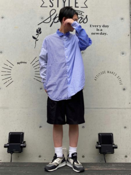 ショートパンツは長袖シャツを合わせてスタイルを整える