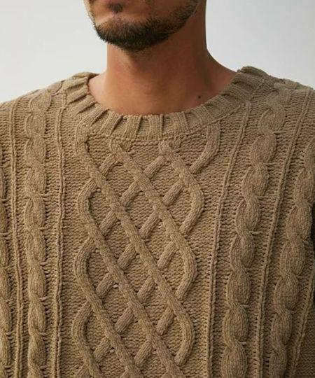 ▼素朴な雰囲気を醸すクラシカルなケーブル編み