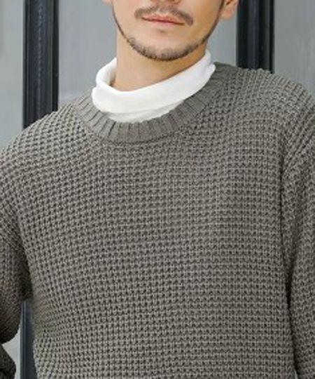 ▼表情豊かなラフな風合いが楽しめるワッフル編み