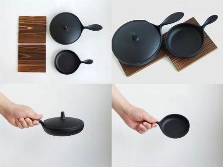食卓にそのまま出せる『小笠原陸兆』南部鉄器ミニパン 大小セット 鍋敷付き