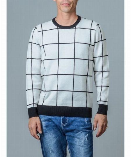 ▼タイプ5:トレンドの大柄チェックを白系ニットで取り入れた新鮮な着こなし