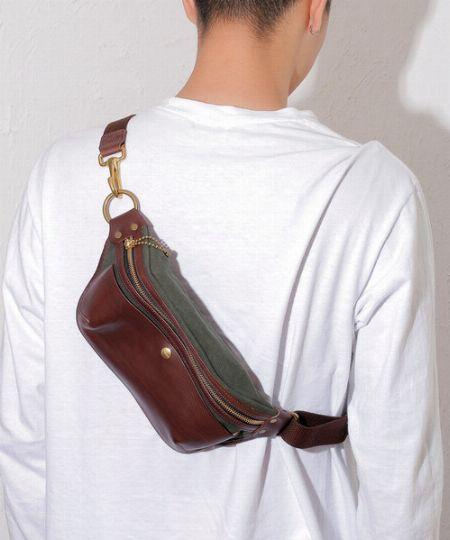 『クランプ』イタリアンシュリンクレザー×キャンバス ポケットバッグ
