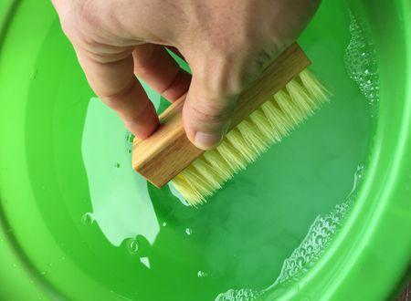 ブラシを再度水に浸す