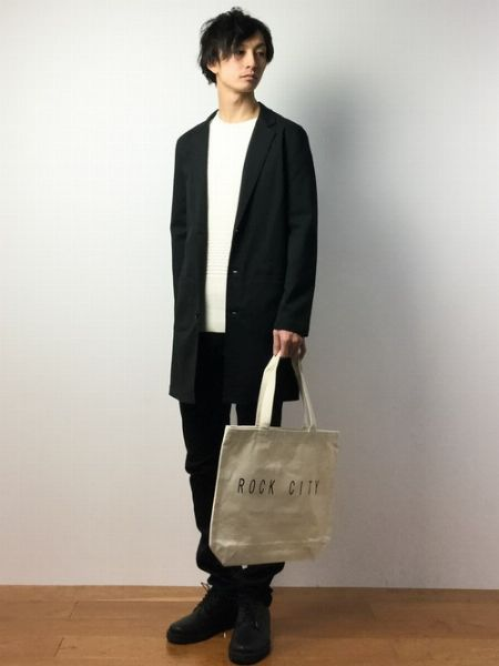 (E) +(J) +(K):ムダのないシンプルカジュアルなチェスターコートファッション
