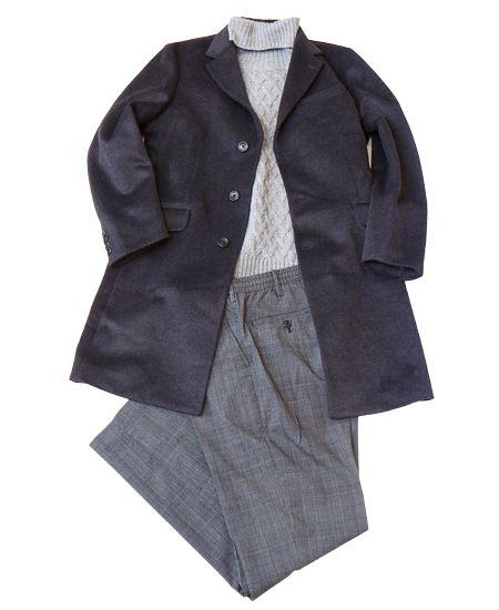 松下「チェスターコートをジャケット代わりにした冬のビジネスカジュアルです」