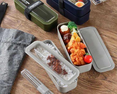 ▼タイプ2:ビジネスバッグにスマートに収納可能。ご飯とおかずを分けられる「2段弁当箱」