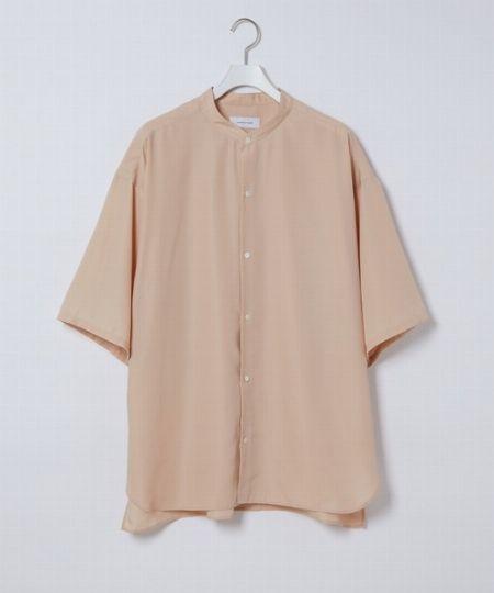 『アダム エ ロペ』バンドカラー半袖シャツ