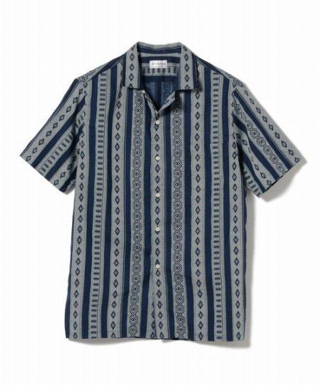 『シップス』コットン/リネン オープンカラー シャツ