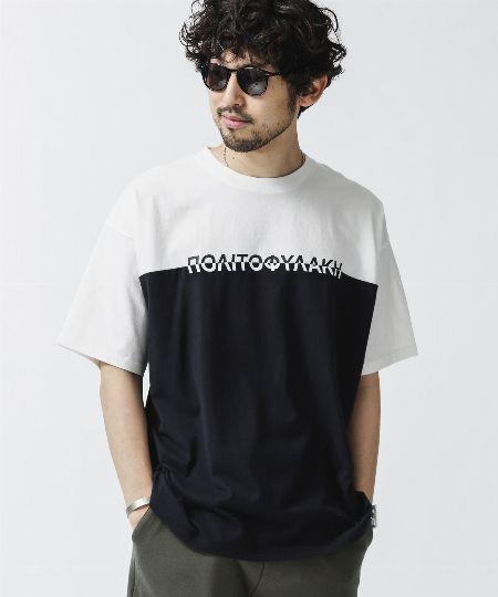 『ナノ・ユニバース』バイカラー切り替えプリントワイドTシャツ