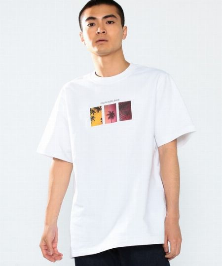 『カルバン クライン ジーンズ』エスケープ パーム プリント グラフィック Tシャツ