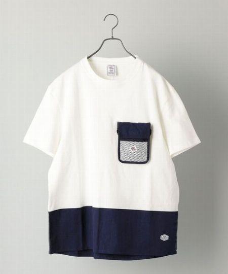 『シップス』×『ジェーイーモーガン』ビッグシルエット ネックポーチ付き Tシャツ