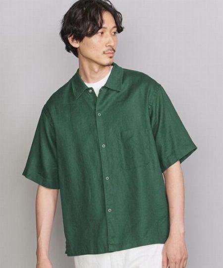 『ビューティ&ユース ユナイテッドアローズ』ヘビー リネン ラミー キャンプカラー ビッグシルエットシャツ