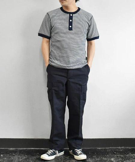 『ラッセルアスレティック』×『シップス』ピグメント加工 ヘンリーネック ロングスリーブ Tシャツ