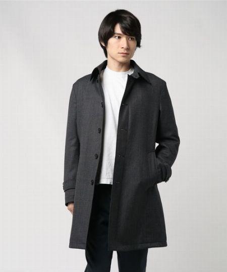 『レノマオム』グレンチェック柄ツイルコート