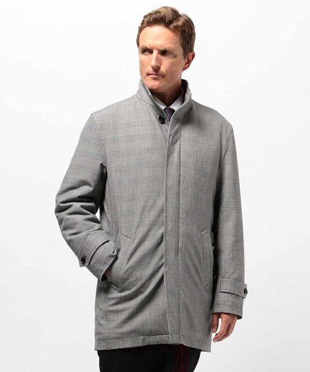 『メンズビギ』グレンチェック柄ツイルコート