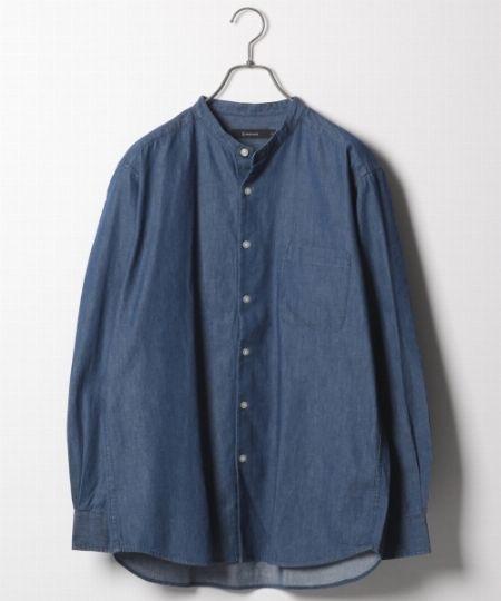 『レイジブルー』デニムバンドカラーシャツ