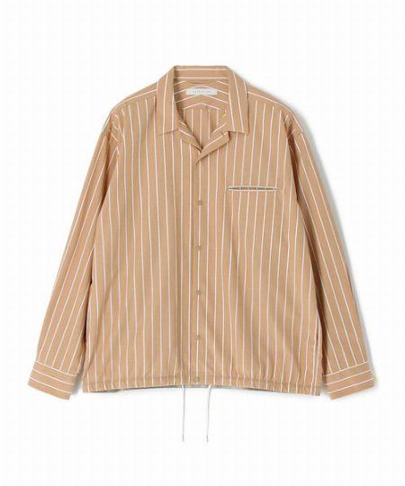 『エストネーション』ストライプ柄コットンオープンカラーシャツ