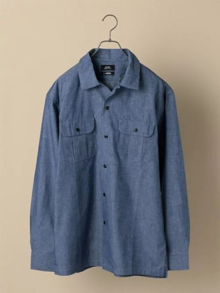 『ビームスプラス』シャンブレー ミリタリー オープンカラーシャツ