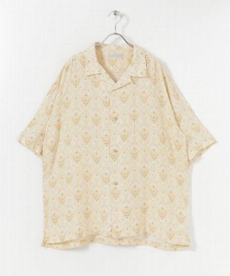 『センスオブプレイスバイアーバンリサーチ』バティックオープンカラーシャツ(5分袖)