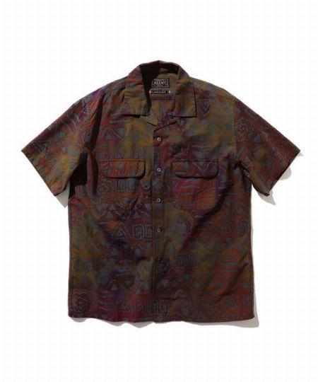 『ビームスプラス』バティックプリント ショートスリーブ オープンカラー シャツ