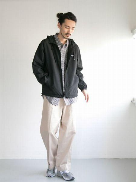 シャツ×ナイロンジャケット×ワイドパンツ
