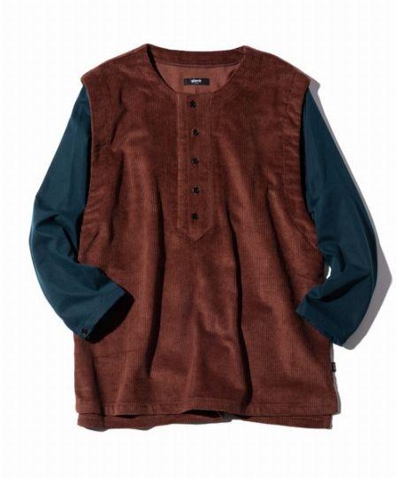 『グラム』レイヤードコーデュロイシャツ