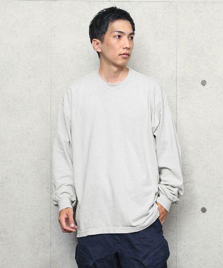 『ロサンゼルスアパレル』6.5オンス ガーメント ダイ クルーネックロングTシャツ