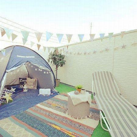 テント×サマーベッドで作るビーチライクな空間